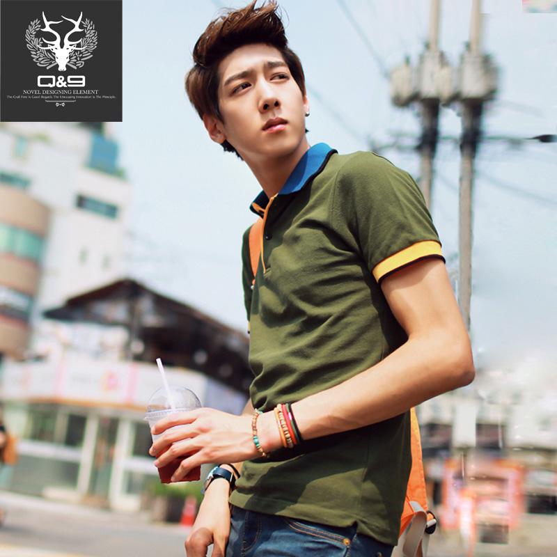 Men Polo Shirt 2015 Short-sleeve Men polo shirt 100% Cotton Turn-Down collar Pathwork 7 colors(China (Mainland))