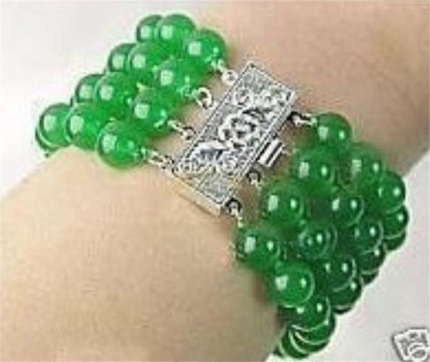 "Free shopping!Charming!2015 DIY beads jewelry making AAA+ 4 Rows Natural 8mm emerald jasper bracelet 7.5"" L2140(China (Mainland))"