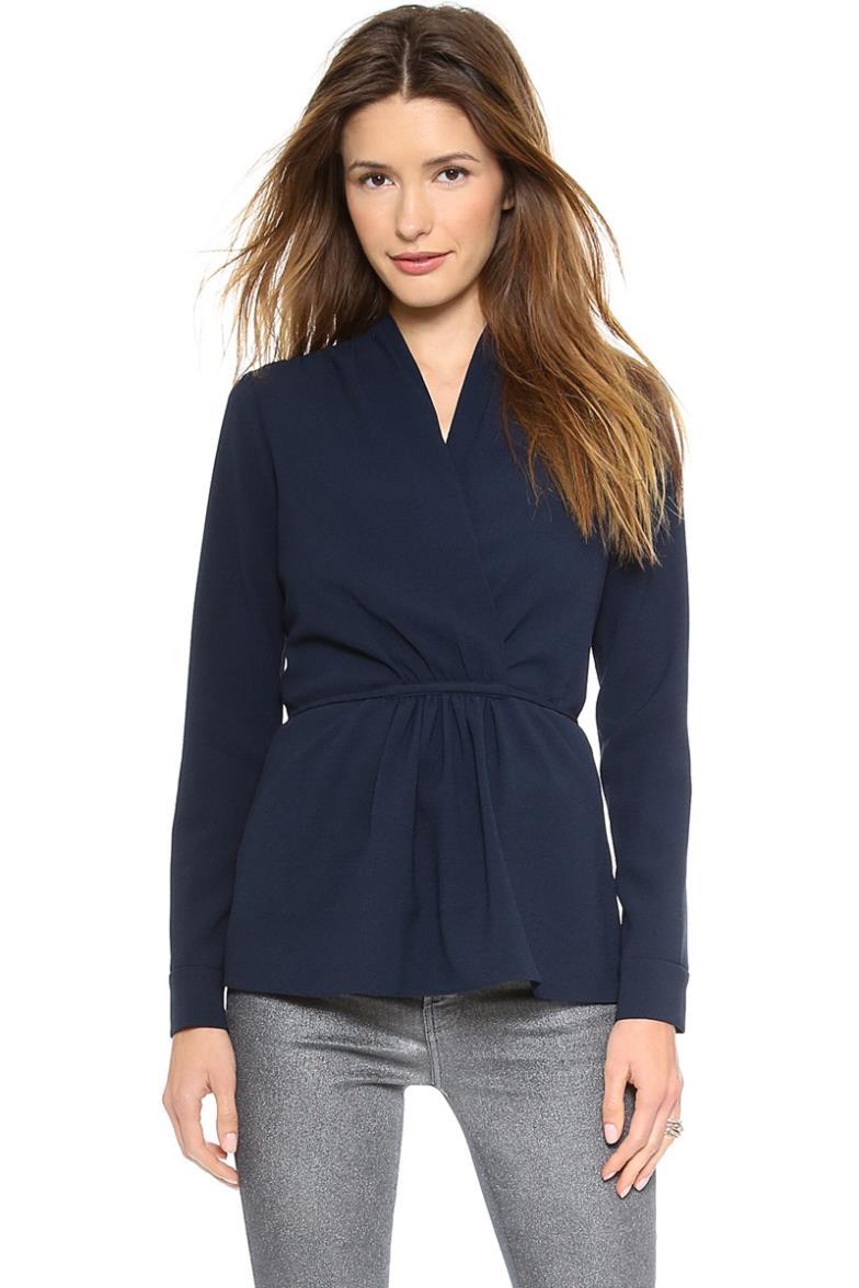 Casual blusas moda de nova 2014 roupas femininas completo manga V Neck sólidos mulheres blusa com um faixas mulheres blusas Plus Size()