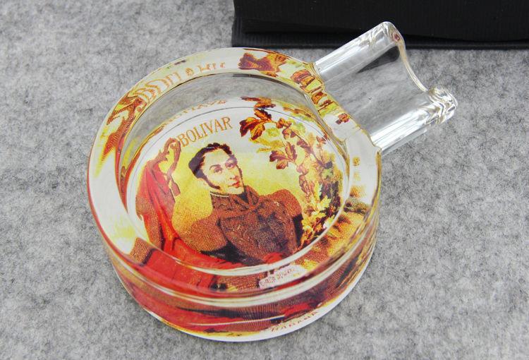Bolivia Glass Cigar Ashtray With Decal On Bottom High Quality Glassware(China (Mainland))