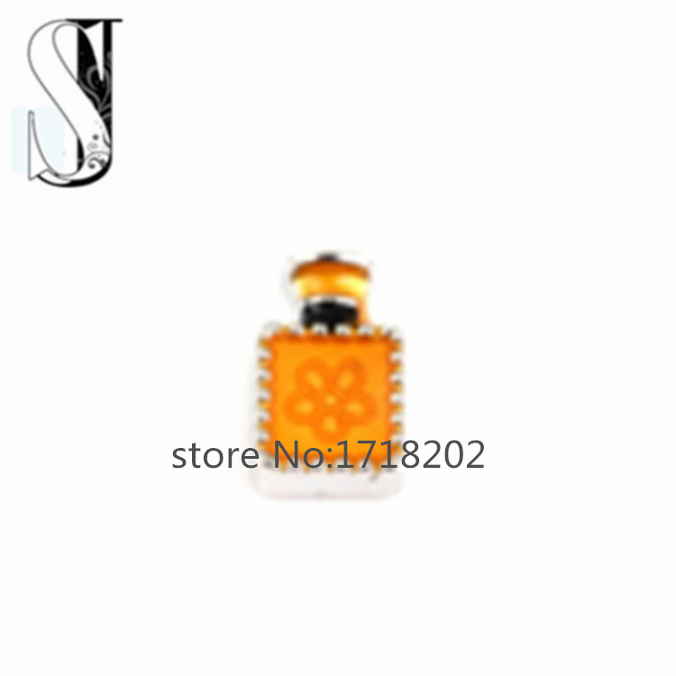 Hot sale Yellow Perfume bottle floating charm for living locket SJFC1013(China (Mainland))