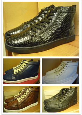 France red bottom fashion sneaker, 2014 handmade luxury Men LOUIS PYTHON CRYSTAL flats,men leather casual shoes Christmas gift(China (Mainland))
