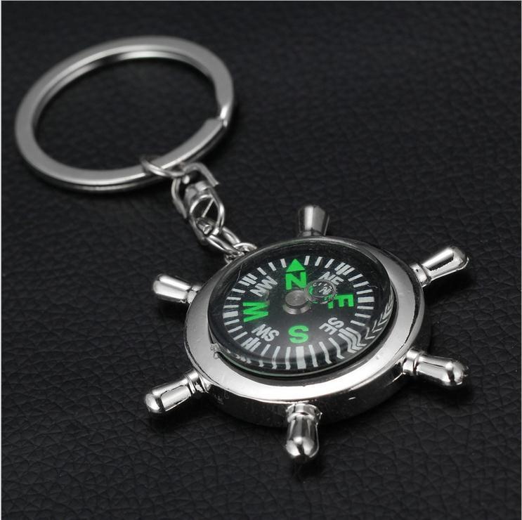 Free Shipping Cartoon Key Chain 12 Pcs/Lot Styles Unique Creative Compass Rudder Helm Key Chain, Glossy Alloy Keychain(China (Mainland))