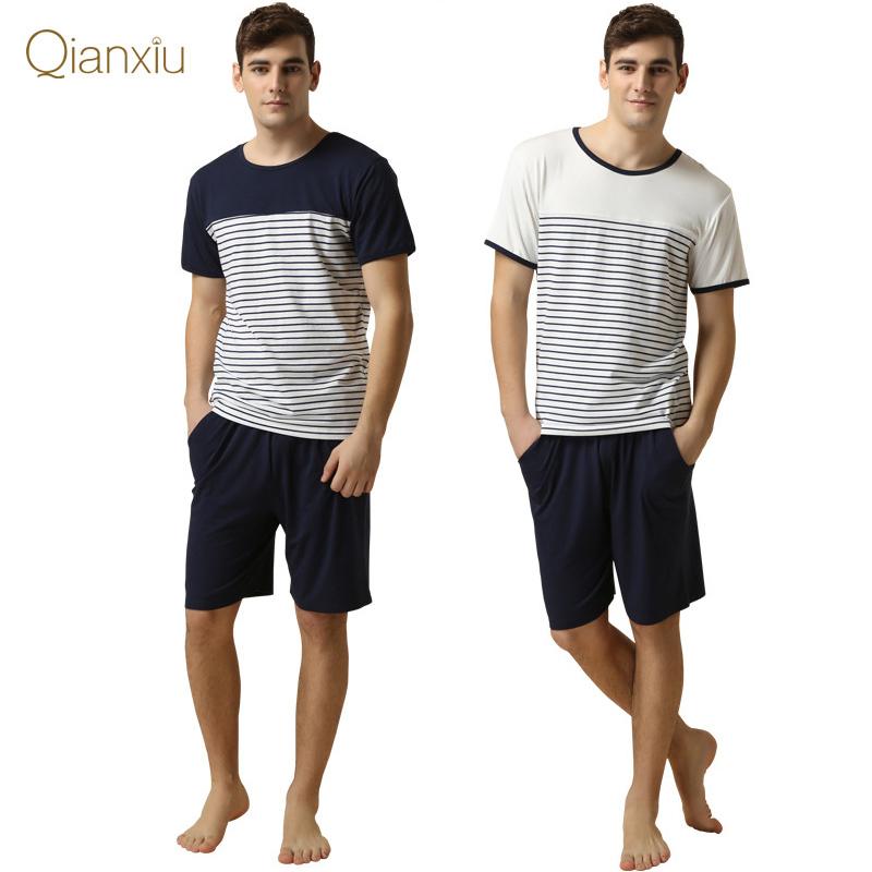 2015 New Arrival Modal Cotton Home Clothing Stripe Summer Casual Pyjamas For Sleep Sleepwears Men Short Sleeve Pajamas Set(China (Mainland))