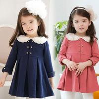 2015 New Cotton Cute Children's Dresses Casual Girl Children's Clothes Kid Ball Gown Bow Dress Knee-Length Girls Dress