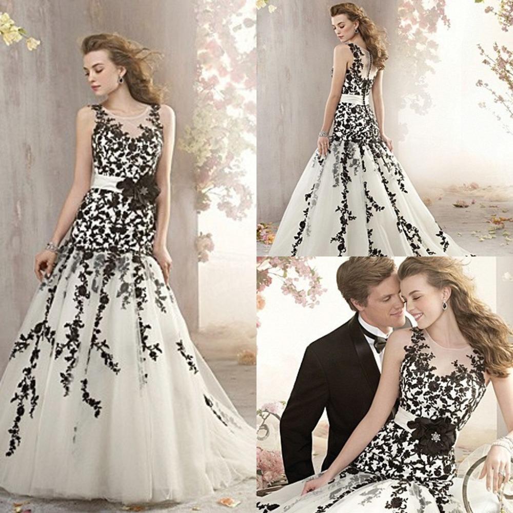 com: Acheter Robe De mariée pas cher noir et blanc Appliques robe De ...