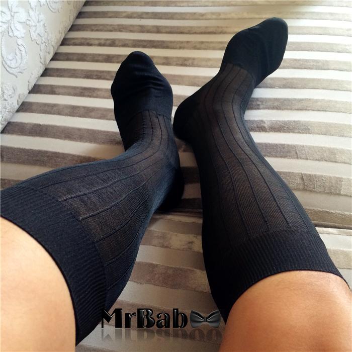 2Pairs Lot Men's Dress Socks,Striped Polyamide Nylon Sheer Suit Socks,Sexy Long Crew Sock For Business Men(China (Mainland))