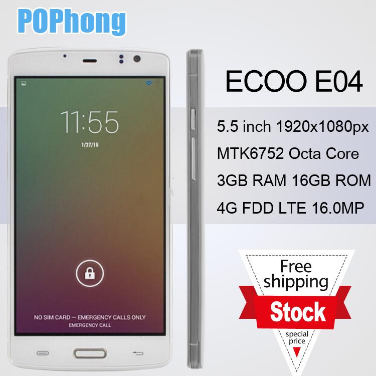 Ecoo E04 FDD LTE 5.5 inch 1920*1080 MTK6752 Octa Core 3GB RAM Android Cellular Phone Camera 8MP+16MP(China (Mainland))