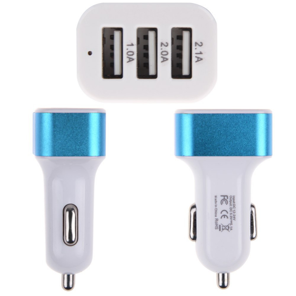 2015 new Highspeed 3 Ports USB Car Charger 5.1A for Tablet and Phones free shipping(China (Mainland))
