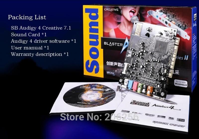 Original High Performance Brand New Authentic Creative 7.1 Audigy 4 II PCI Desktop Built-in Karaoke Sound Card Free shipping(China (Mainland))