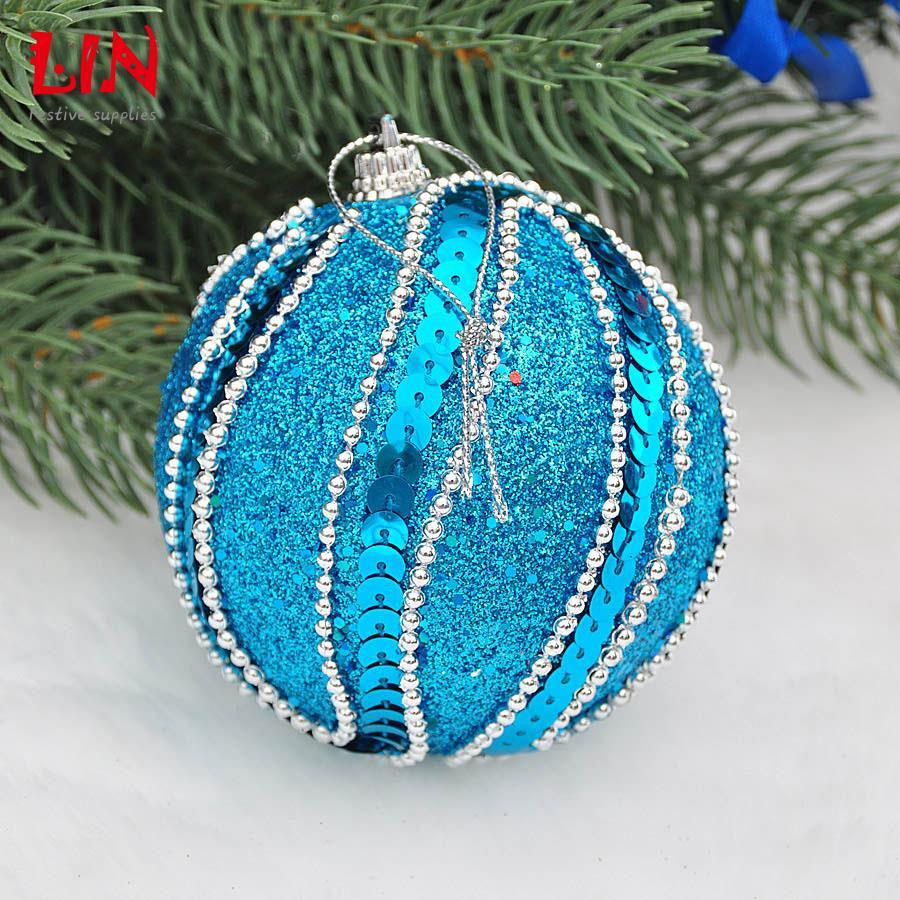 Christmas decoration ornaments 8cm blue foam premium stick decorated natal balls adornos navidad craft supplies styrofoam ball(China (Mainland))