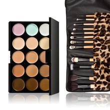 15 Colors Contour Face Cream Makeup Concealer Palette 12pcs Leopard Brush F#OS