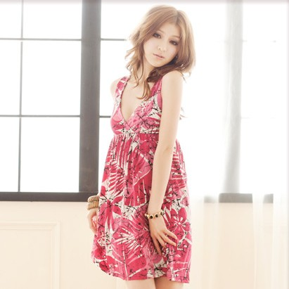 Sexy low v neck good shoulders back cross print dress 118072 factory direct(China (Mainland))