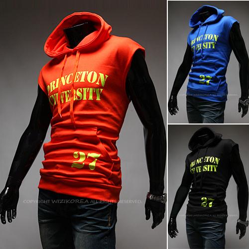 2015 Summer Top News Hot Sale Fashion Letter Print Sleeveless Hooded Sport Sweatshirt Men,Slim Fit Casual Men Hoodies Sport suit(China (Mainland))