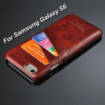 Для Samsung S6 кожа задней стороны обложки мода роскошные восковые линии искусственная кожа телефон чехол для Samsung Galaxy S6 G9200 с держателя карты