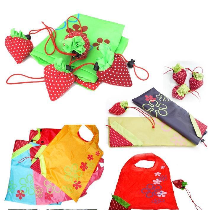 200pcs/lot Portable Cute Strawberry Bags Eco Reusable Shopping Bag Tote Folding Foldable Bag(China (Mainland))