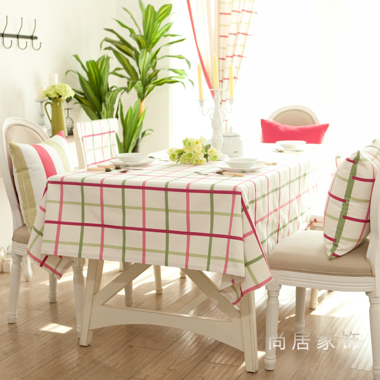 free shipping Free shipping European pastoral pink green plaid table cloth cotton cloth tablecloths tablecloth tea table cloth m(China (Mainland))