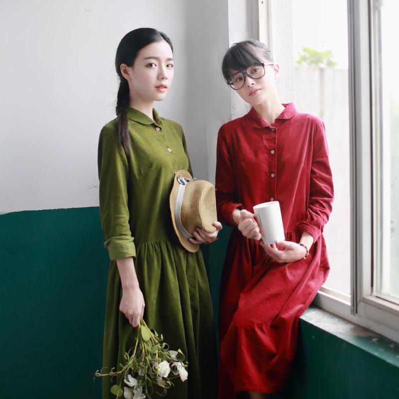 Autumn new retro corduroy dress tricolor literary small fresh cotton long-sleeved dress(China (Mainland))