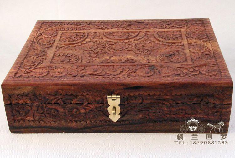 XL 35cm Pakistani group color walnut wood carving jewelry box upscale jewelry gift box storage box(China (Mainland))