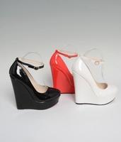 Women Pumps PU  wedges platform High-Heeled Shoes 16cm Big Size 40-46  red,white, black Color 006