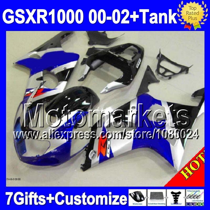 100% +Tank HOT For SUZUKI GSX-R1000 K2 00 01 02 GSX R1000 K2 black blue silvery K1 2000 2001 2002 M697 GSXR1000 Fairing Kit+(China (Mainland))