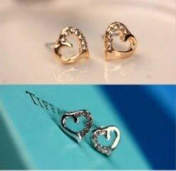 Full rhinestone heart small stud earring fashion elegant accessories yiwu quality earrings(China (Mainland))