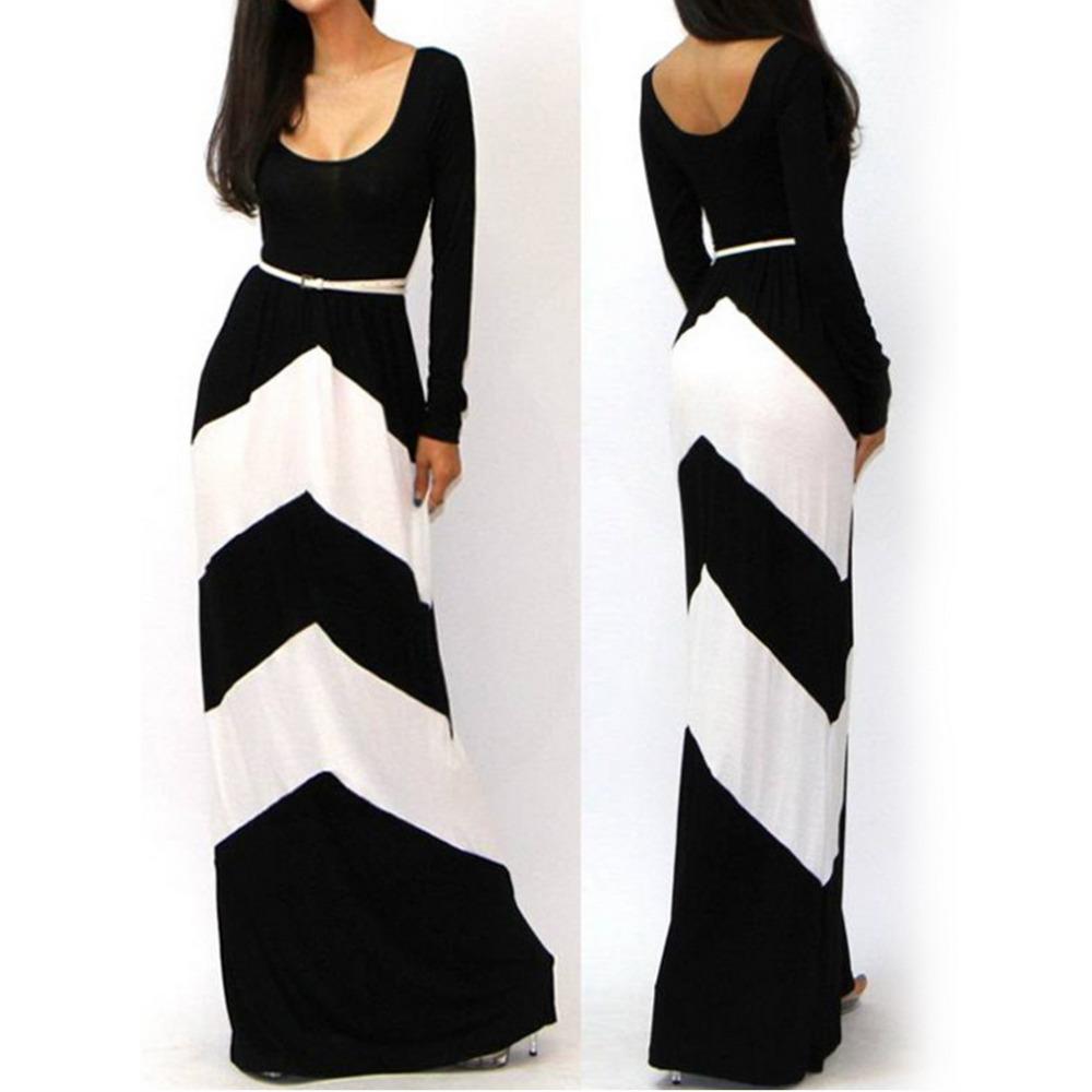 Fashion Women Casual Straight Striped Floor Length Summer Beach long Dress Celeb Style Long Sleeve Slim Maxi Dress With Belt(China (Mainland))
