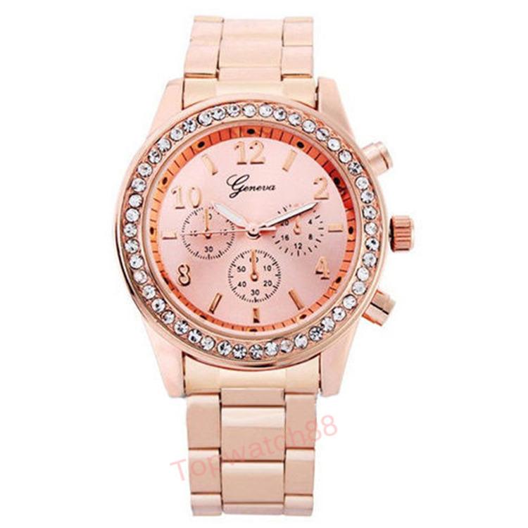 2015 Fashion Watch Geneva Unisex Quartz Watch Women Analog Wristwatches Bling Crystal Clocks Stainless Steel Watch Relogio Reloj(China (Mainland))