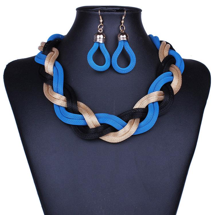 Fashion Necklaces Women 2015 Female collar multi layer Chain vintage short twist Necklaces & Pendants Earrings Bijoux Statement(China (Mainland))