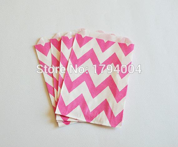 Pink Chevron Paper Bags, Wedding, Shower, Birthday Favor Bags, Treat Bags, Pink Candy Bags, Pink Wedding Decor(China (Mainland))