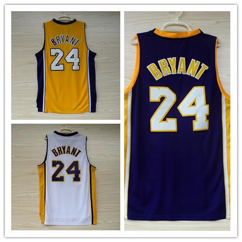 Bryant basketball jerseys wholesale 24 yellow Zibai new basketball clothes new basketball jersey embroidered fabrics(China (Mainland))