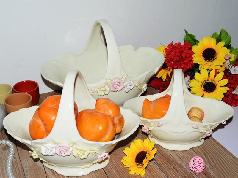 European and American original single ivory porcelain ceramic flower baskets fruit baskets hand pinch flower baskets(China (Mainland))
