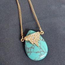 Newest Design Fashion Bohemian Jewelry Turquoise Pendant Necklace Mosaic Rhinestone Necklace(China (Mainland))