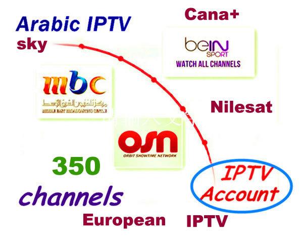 freeshipping 2015 Arabic Europe IPTV steaming server 350 channels arabic iptv tv internet box set top box sports movies account(China (Mainland))