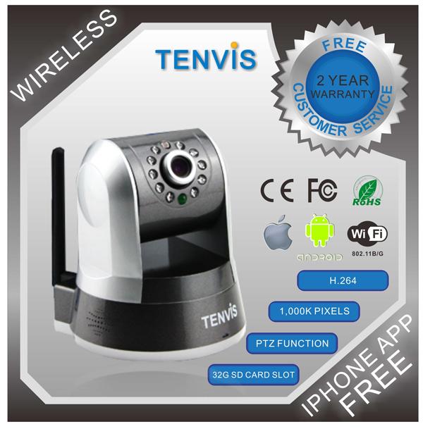 New Original Tenvis IPROBOT3 Wireless Network WIFI H.264 PTZ Control 1Megapixel HD Wireless IP Camera Dual audio 5*Digital Zoom(China (Mainland))