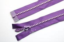 Free shipment Fashion handicrafts 80cm long A Grade AB  rhinestones purple   Color  ZIPPERS Great for Western Shirt (China (Mainland))