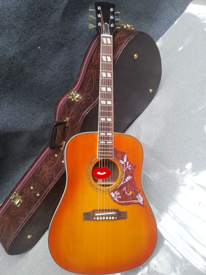 Orange Chibson Hummingbird acoustic guitar, Hummingbird electric acoustic guitar double rhombic inlays free shipping(China (Mainland))