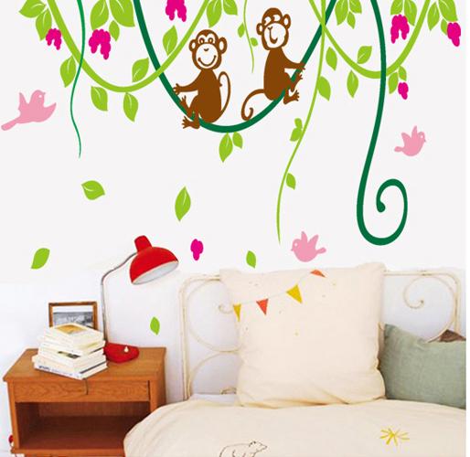 Cartoon Dream Baby Monkey Tree bedroom sofa TV background removable PVC Wall Stickers Home Decor wall art adesivo de parede(China (Mainland))