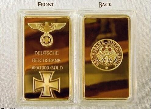 Deutsche Reichsbank Bullion Bar! Free Shipping Wholesale 5Pcs/Lot .999 fine Gold Plated German Eagle gold bullion bar(China (Mainland))