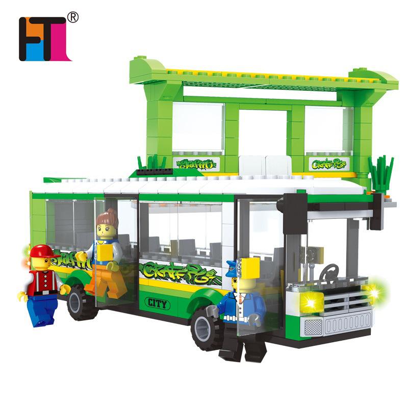 325pcs Plastic Building Blocks Set Single Deck School City Green Bus Plane DIY Enlighten Bricks Toys Compatible with Lego Block(China (Mainland))