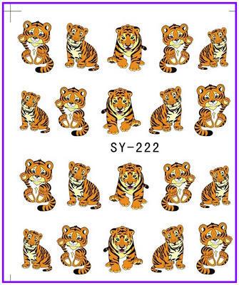 1X Nail Sticker Cartoon Tiger Water Transfers Stickers Nail Decals Stickers Water Decal Opp Sleeve Packing SY222(China (Mainland))