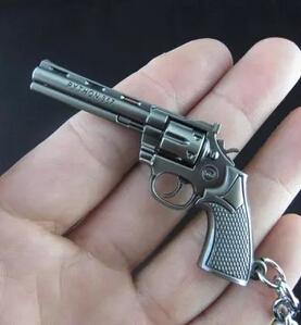 1PCS High quality Hot Sale Cross Fire CF Cute Mini Version Revolver Gun Buckle Zinc Alloy Metal Pendant Key Ring Keychain In Box(China (Mainland))