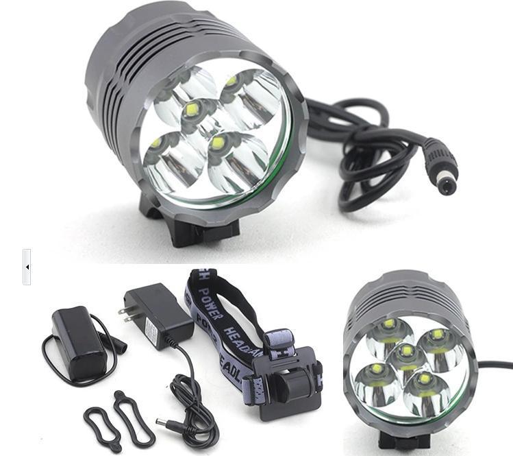 Securitylng 6000 Lumen High Power 5 x CREE XML T6 LED Front Bicycle Light Bike Lamp + Headlight Headlamp + 8.4v battery pack(China (Mainland))