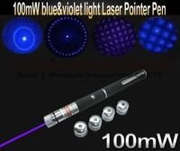 5 in 1 BLUE/UV purple 405nm Laser Pointer Pen 100MW Star Effect Caps +5 Laserheads Lazer Light