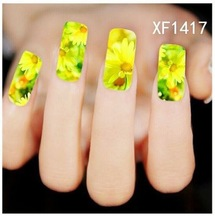 Temporary nail wraps Water Transfer Nail Sticker Chain Beauty Flower Wraps Foil Nail Art Decals Nail Tools polish XF-1417