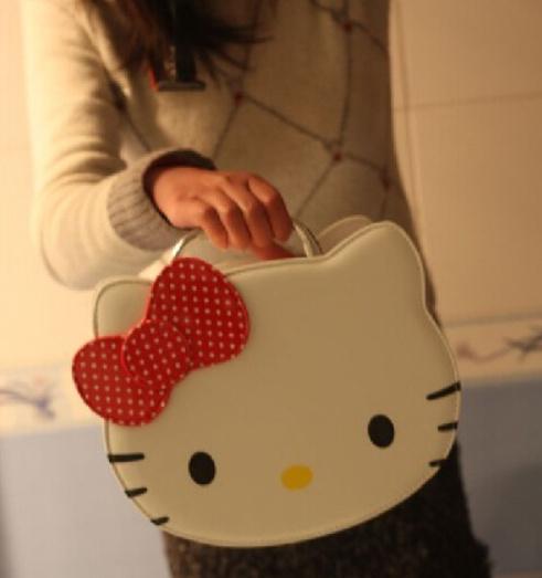 Kawaii BIG Volume 28*22CM Hello Kitty Girls Lady's Handbag Cosmetics Suitcase Bag & Case Pouch PU Makeup Beauty Storage BAG BOX(China (Mainland))