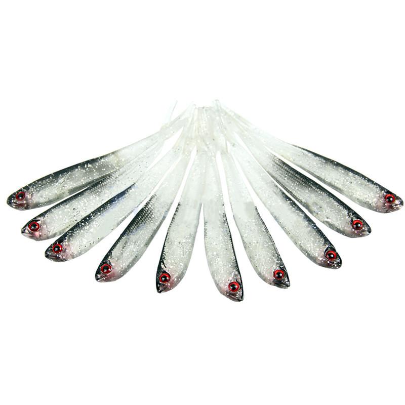 New Arrival Hot Sale 10pcs Set 10cm Soft Silicone Tiddler Bait Fluke Fish Fishing Saltwater Fish