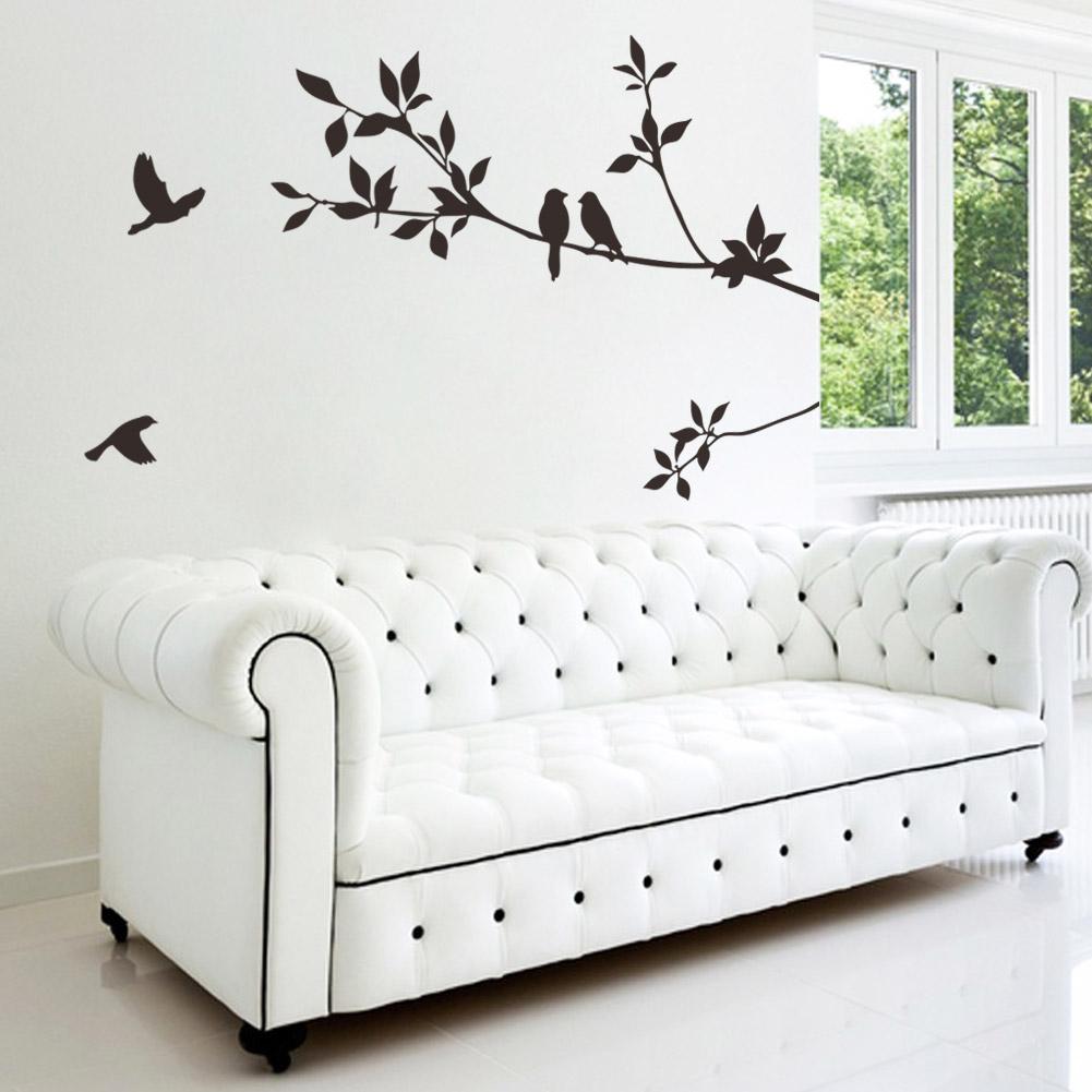 Free Shipping ColorCasa bird living room sofa TV backdrop stickers romantic artistic creativity decorative bird branch(China (Mainland))