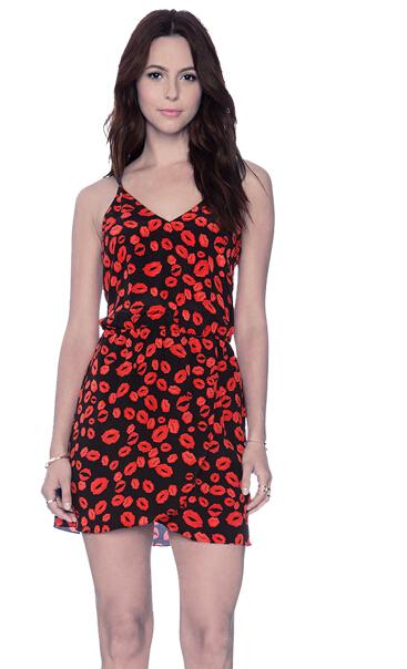 Women Sexy Clothing Desigual Female Clubwear Sleeveless Vintage Solid Red Lip Print Spaghetti Strap Bodycon Mini Dress A1335(China (Mainland))
