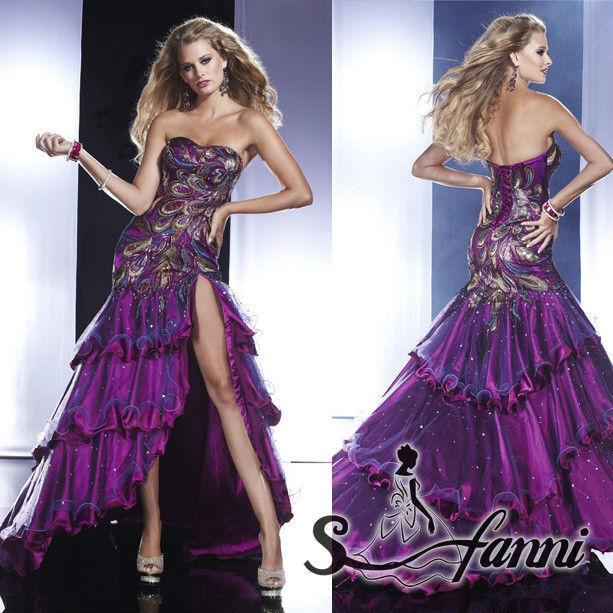 Exquisite Sweet-heart High Slit Satin Organza Phoenix Embroidery Lebanon Evening Dress2015(China (Mainland))